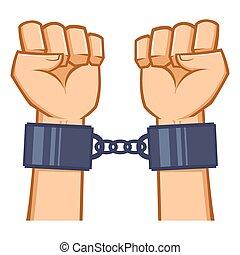 handcuf, mains, capturé, enchaîné