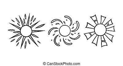 handdrawn, été, noir, rayons, vecteur, illustration, briller, set., linéaire, style., blanc, soleils