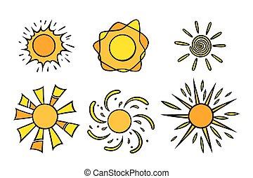 handdrawn, jaune, griffonnage, rayons, coloré, soleils, vecteur, noir, blanc, style., set., briller, illustration