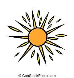 handdrawn, jaune, griffonnage, sun., coloré, rayons, vecteur, soleil, noir, blanc, style., briller, illustration