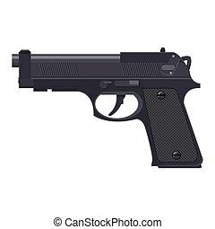 handgun., fusil, automatique, pistolet, moderne
