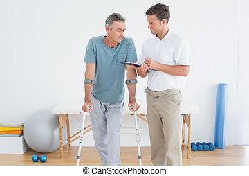 handicapé, discuter, thérapeute, patient, rapports