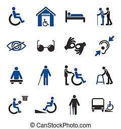 handicapé, ensemble, icônes