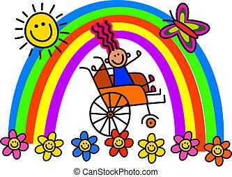 handicapé, fauteuil roulant, girl