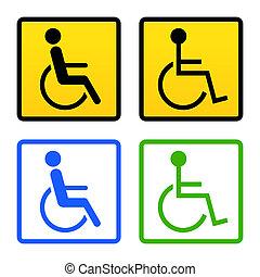 handicapé, fauteuil roulant, signe
