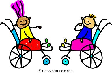 handicapé, gosses