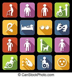 handicapé, plat, ensemble, icônes