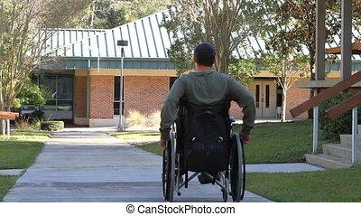 handicapé, rouler, loin, homme