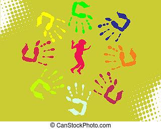 handprints, coloré