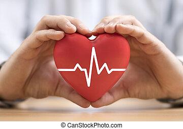 hands., assurance, pouls, coeur, concept, santé