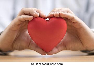 hands., assurance, santé, coeur, concept., rouges, ou, amour