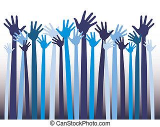 hands., heureux, célébration