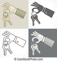 hands., illustration., clés, vecteur