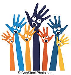 hands., joyeux, gens, chant