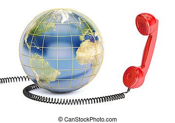 handset., concept, la terre, 3d, communication, rendre, global
