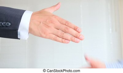 handshake., business, 4k, hommes, deux, ralenti, secousse, hands.