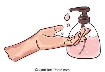 handwashing., personnel, désinfection, mains, dessin, peau, hygiene., sanitizer, care., illustration, propre, soap., lavage
