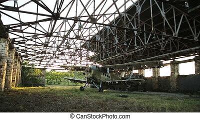 hangar, militaire, vieux, avion