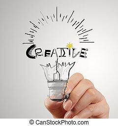 hannd, concept, mot, lumière, créatif, conception, ampoule, dessin