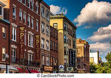 hanovre, boston, rue, massachusetts, magasins, restaurants