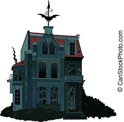hanté, spooky, maison