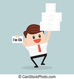 hard., fonctionnement, beaucoup, main, papier, tenue, homme affaires