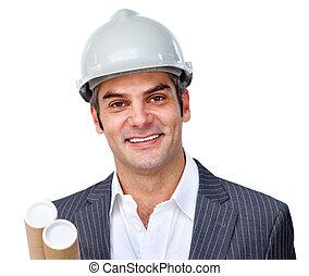 hardhat, architecte, mûrir, porter, mâle