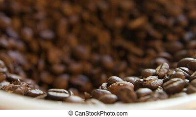 haricots, café, bol, remplissage