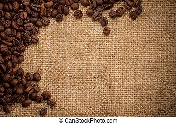 haricots, café, burlap, fond
