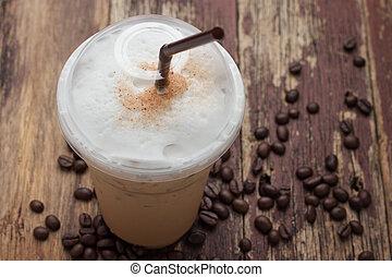 haricots, glacé, mélangé, café, frappucino