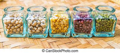 haricots, variété, lentilles