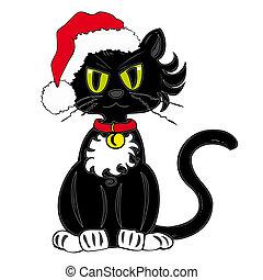 hat., claus, noir, santa, chat