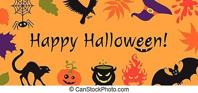 hat., halloween, détails, bannière, forme