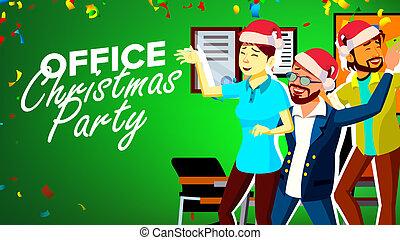 hats., bureau affaires, heureux, gens., illustration, dessin animé, s, fête, vector., année, nouveau, fun., avoir, noël