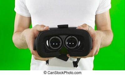haut., écran, réalité virtuelle, mask., vert, fin