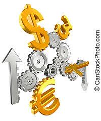 haut, bas, dents, monnaie, économie