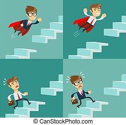 haut, carrière, courant, symbole, promotion., reussite, concept., escaliers., ambition, homme affaires, motivation, business
