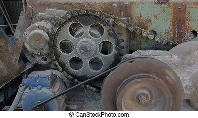 haut., chaîne, convoyeur, conduire, mécanisme, noeud, fin, courant, ceinture