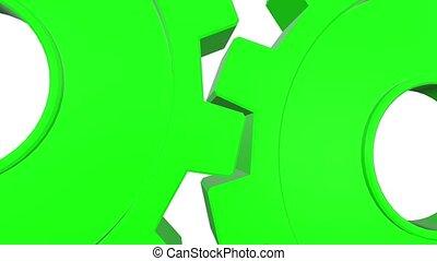 haut, channel., tourner, arrière-plan., animation, vert, engrenages, alpha, fin, blanc, 3d