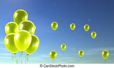haut, ciel, jaune, ballons