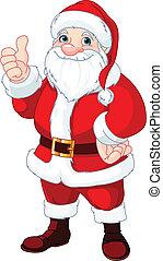 haut, claus, pouces, santa