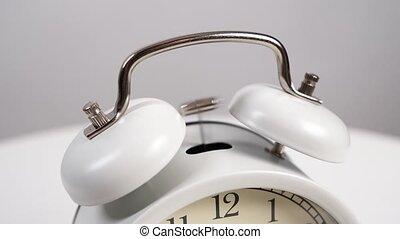 haut., commencement matin, horloge, blanc, concept, rises., reveil, ringing., fin