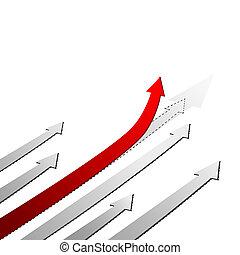 haut., concept, flèche, reussite, rouges