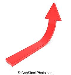 haut., concept, growth., reussite, flèche, rouges