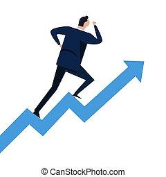 haut., concept, reussite, carrière, diagramme, étapes, courant, aller, croissance, homme affaires, escalier grimpeur