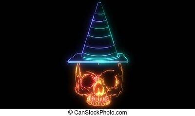 haut, crâne, animation, numérique, éclairage, style, néon, chapeau
