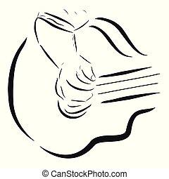 haut, croquis, simple, guitare, ou, fin, homme, jouer, accoustic, femme