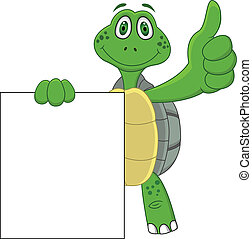 haut, dessin animé, tortue, pouce
