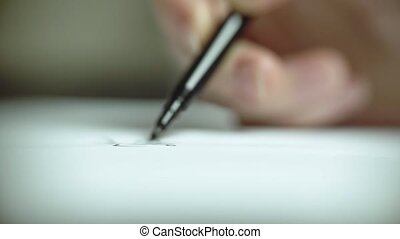 haut., dessine, feutre, paper., main femme, stylo, fin, blanc