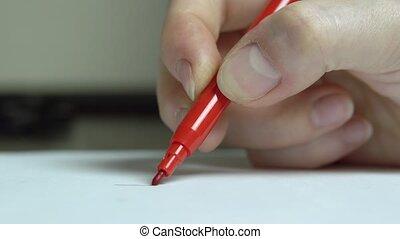 haut., dessine, feutre, paper., main femme, stylo, fin, ligne blanche, rouges